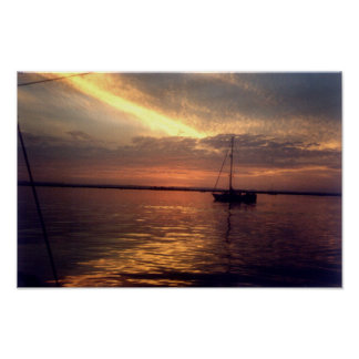 Streaked sky at sunset poster