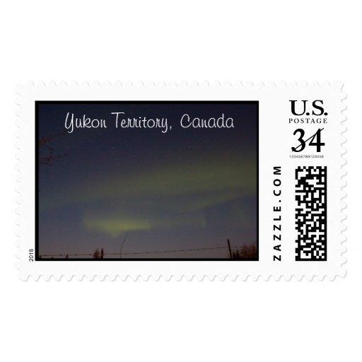 Streaks of Northern Lights; Yukon Souvenir Postage Stamp