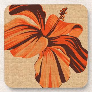 Streaky Hawaiian Hibiscus Faux Linen Coasters