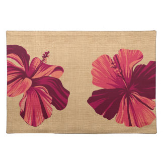 Streaky Hawaiian Hibiscus Faux Linen Placemats Cloth Placemat
