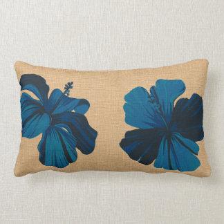 Streaky Hawaiian Hibiscus FauxLinen Lumbar Pillows