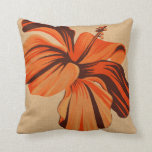 Streaky Hawaiian Hibiscus Fauxlinen Square Pillows at Zazzle