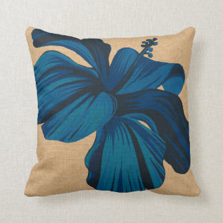 Streaky Hawaiian Hibiscus FauxLinen Square Pillows