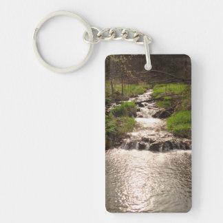 Stream Nature Forest Photograh Rectangle Keychain Acrylic Key Chain