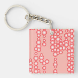 Stream of bubbles, coral pink Double-Sided square acrylic keychain