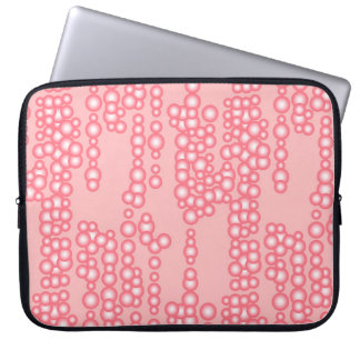 Stream of bubbles, coral pink computer sleeve
