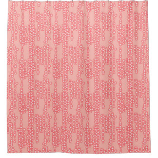 Stream Of Bubbles, Coral Pink Shower Curtain