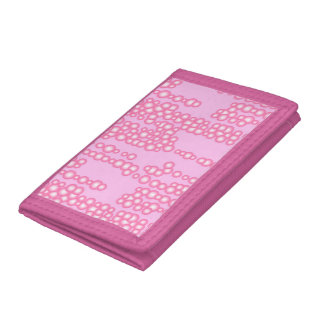 Stream of bubbles, pastel pink trifold wallets
