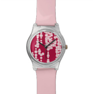 Stream of bubbles, pastel pink wrist watches
