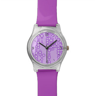Stream of bubbles, shades of lavender wrist watch