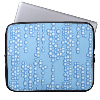Stream of bubbles, shades of light blue laptop computer sleeve