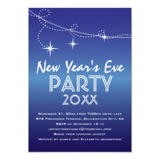 Streamers and Stars Blue New Year's Eve Party 5x7 Paper Invitation Card