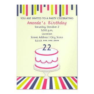 Streamers & Stripes Birthday Party / Birthay Cake Card
