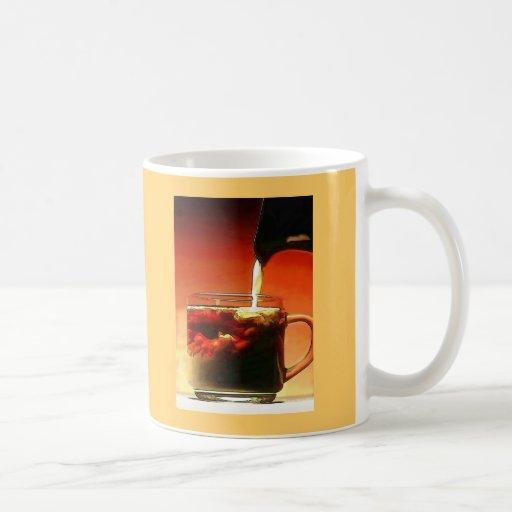 Streaming Cream into Coffee Mugs