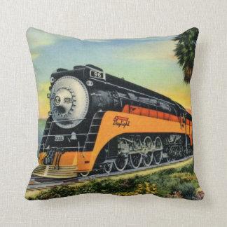 Streamline Steam Locomotive Throw Pillow