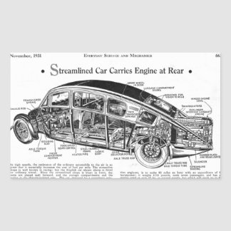 Streamlined Car Diagram Rectangular Sticker