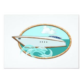 Streamlined Yacht in Oval Sea & Sky Card