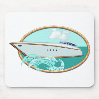 Streamlined Yacht in Oval Sea & Sky Mouse Pad