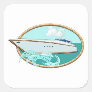Streamlined Yacht in Oval Sea & Sky Square Sticker