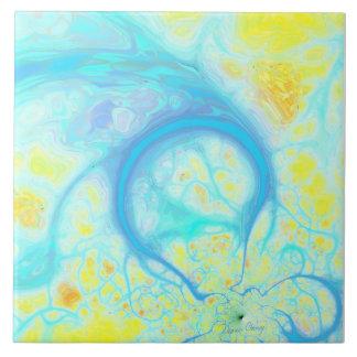 Streams of Joy – Cosmic Aqua & Lemon Ceramic Tile