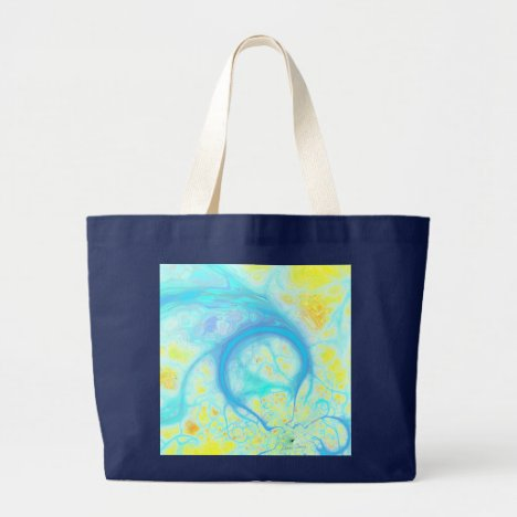 Streams of Joy – Cosmic Aqua & Lemon Large Tote Bag
