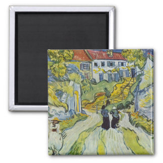 Street and road in Auvers by Vincent van Gogh Magnet