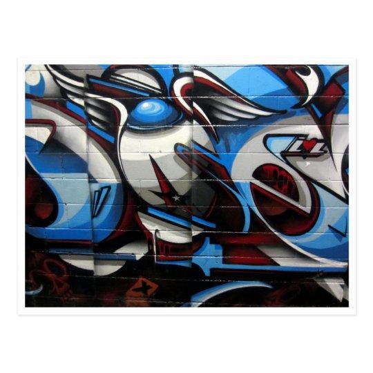 street art blue postcard