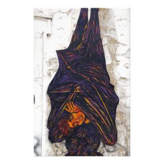 Street art mural flying fox (fruit bat) fantasy stationery