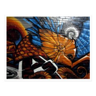 street art orange postcard