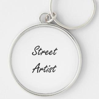 Street Artist Artistic Job Design Silver-Colored Round Keychain