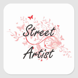 Street Artist Artistic Job Design with Butterflies Square Sticker
