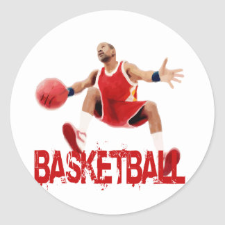 Street Basketball Dribble Classic Round Sticker