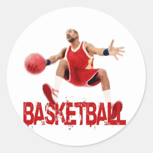 Street Basketball Dribble Classic Round Sticker