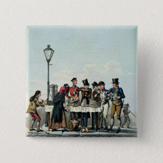 Street Breakfast engraved by G.Hunt, 1825 (engravi Pinback Button