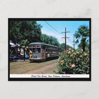 Street Car Scene, New Orleans Vintage postcard