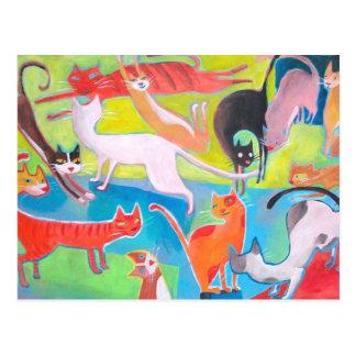 street cats art postcard