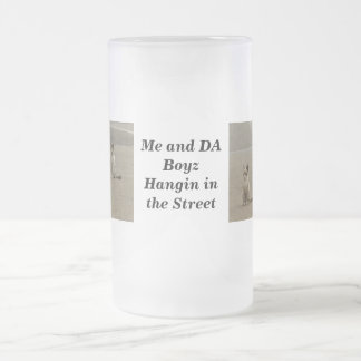Street cats frosted glass beer mug