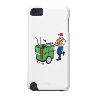 Street Cleaner Pushing Trolley Cartoon Isolated iPod Touch 5G Covers