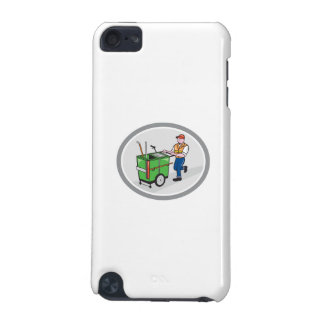 Street Cleaner Pushing Trolley Oval Cartoon iPod Touch 5G Cases