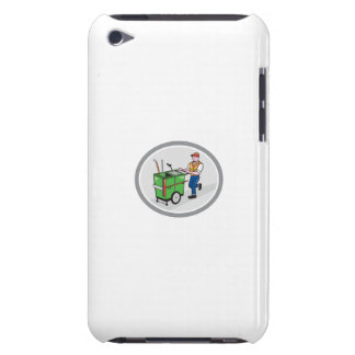 Street Cleaner Pushing Trolley Oval Cartoon Case-Mate iPod Touch Case