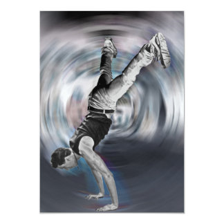 """Street Dancing - Black and White 5"""" X 7"""" Invitation Card"""
