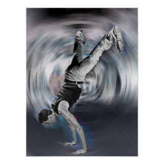 Street Dancing - Black and White Poster