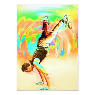 "Street Dancing, Green/Yellows/Oranges, No-Sil't 5"" X 7"" Invitation Card"