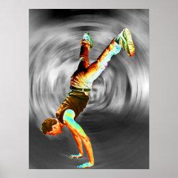 Street Dancing, Grey/Black Background Poster