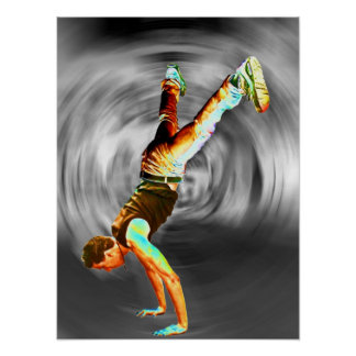 Street Dancing Grey Black Background Posters