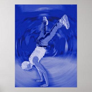 Street Dancing - in Blue Poster