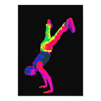 "Street Dancing - Multi-Colour, Black Back 5"" X 7"" Invitation Card"
