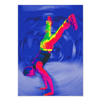 "Street Dancing, Rainbow Coloured, Blue Back 5"" X 7"" Invitation Card"