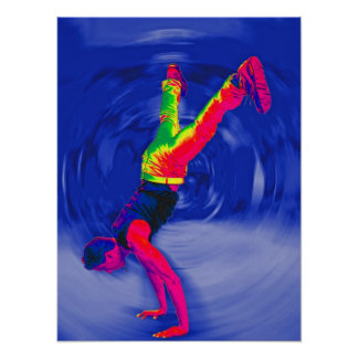 Street Dancing, Rainbow Coloured, Blue Back Poster