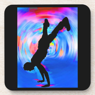 Street Dancing, Silhouette, Blues/Reds/Pink Shades Drink Coaster
